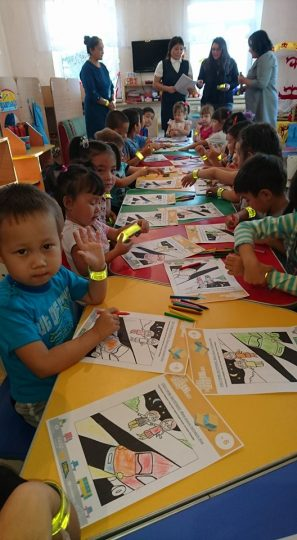 Kazakh pre-school children working with the EASST Road Safety Education Pack