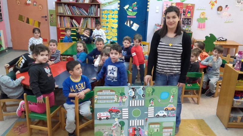 Children in Chania, Crete learn to stay safe on the roads
