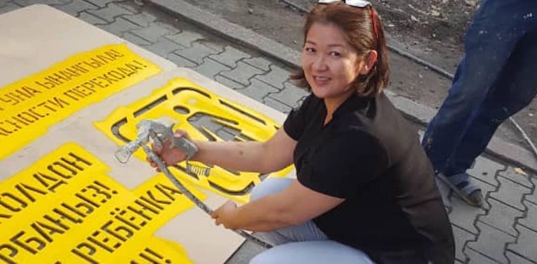 Dozens of new pedestrian safety messages installed across Bishkek